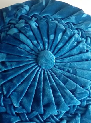 Ancien coussin rond velours bleu rétro vintage