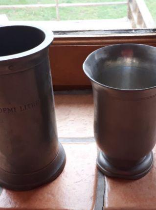 1 pot + 1 verre en étain