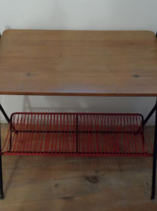 Petite table d'appoint fer/bois/scoubidou