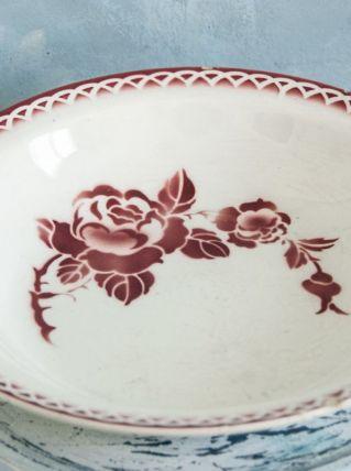 Plat creux  Digoin rose