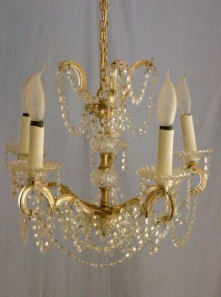 Ancien lustre à pampilles en cristal de strass