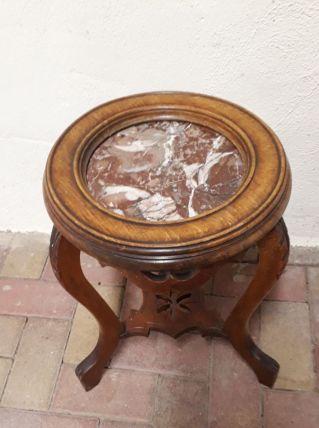 Petite table gueridon console merisier marbre rouge