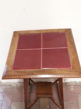 Console table ancienne bois carreaux rouge