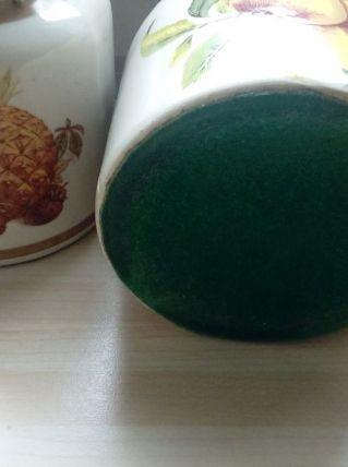Série lot pots vintage en liège décor fruits