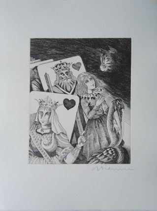 Gravure signée G. GIANNINI Alice au Pays des Merveilles