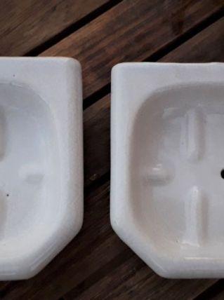 Lot de 2 porte-savons grès blanc