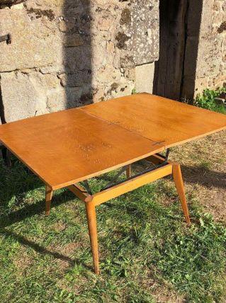 Table ancienne en bois modulable 4 positions vintage