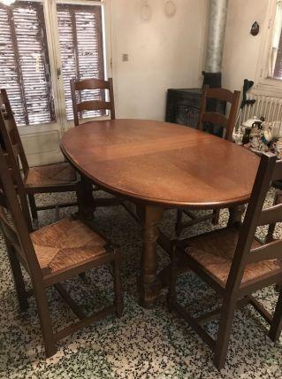 Table ovale chêne  avec chaises