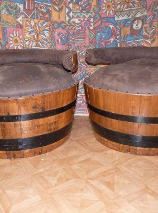 2 fauteuils en tonneau avec rangements