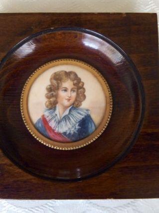Peinture miniature à la gouache Louis XVII
