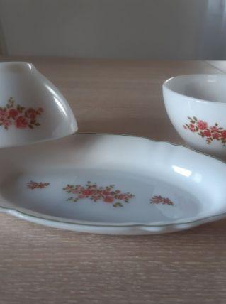 Petit plat et deux bols, arcopal, vintage