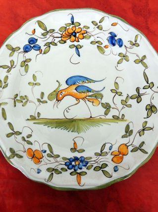 Assiette porcelaine de l'est décor oiseau signée