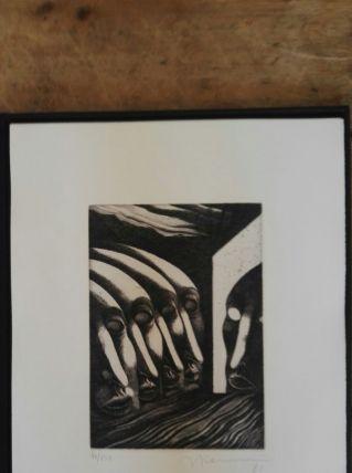 Gravure signée, numérotée Giovanni Giannini pour Edgar Poe