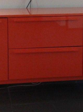 Bahut laqué orange 2 portes 2 tiroirs