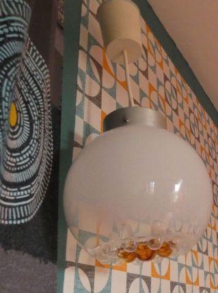 luminaire années 70 en verre souflé