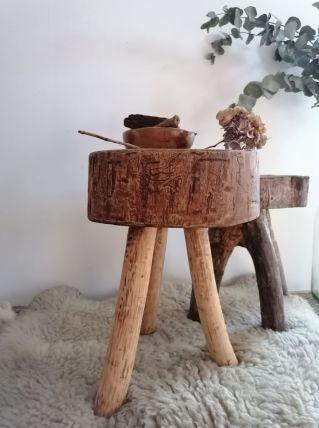 Tabouret ancien bois brut