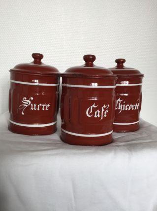 3 pots en tôle émaillée 50's