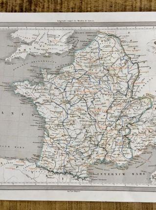 Carte géographique 19ème numérotée GAULE