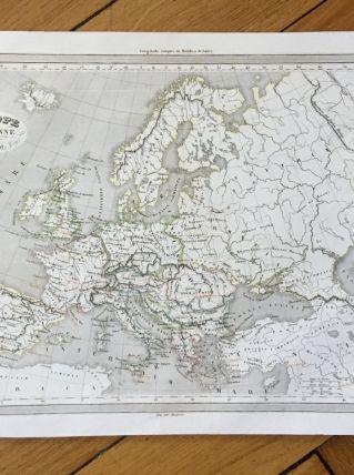 Carte géographique 19ème numérotée EUROPE ANCIENNE