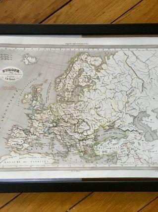 Carte géographique 19ème numérotée EUROPE Invasion Barbares