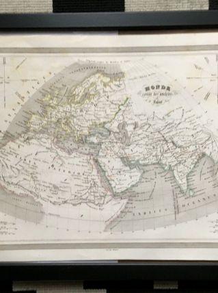 Carte géographique 19ème numérotée Monde connu des anciens