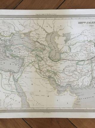 Carte géographique 19ème numérotée Empire d'Alexandre