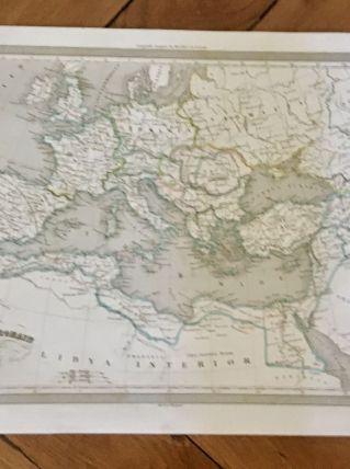 Carte géographique 19ème numérotée Empire Romain