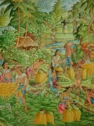 Peinture sur toile indonésienne Bali style UBUD