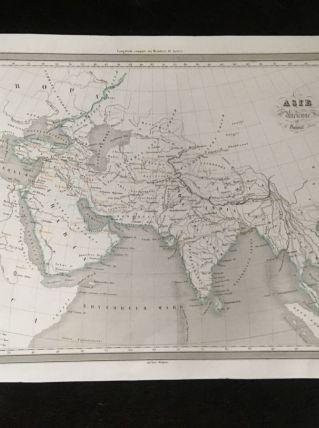Carte géographique 19ème numérotée Asie mineure ancienne