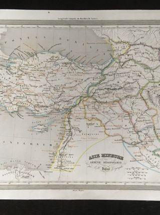 Carte géographique 19ème numérotée Asie mineure Arménie Méso