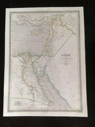 Carte géographique 19ème numérotée Syrie et Egypte anciennes