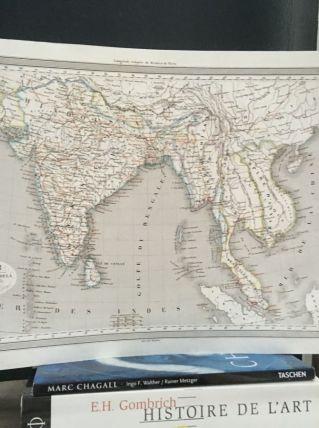 Carte géographique 19ème numérotée Inde Gange