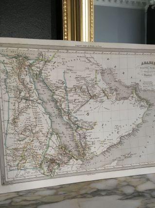 Carte géographique 19ème numérotée ARABIE EGYPTE NUBIE ABYSS