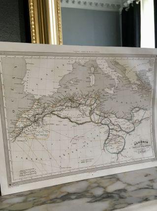 Carte géographique 19ème numérotée ALGERIE provinces Barbare