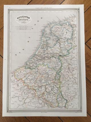 Carte géographique 19ème numérotée HOLLANDE BELGIQUE