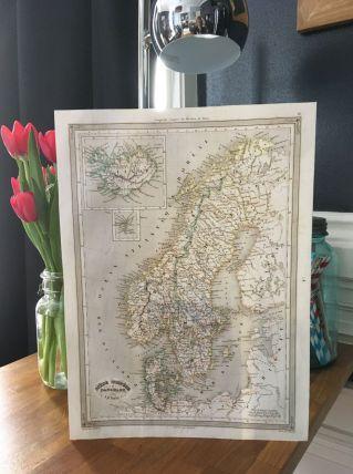Carte géographique 19ème numérotée SUEDE NORVEGE DANEMARK