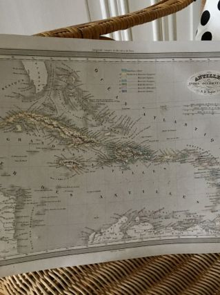 Carte géographique 19ème numérotée ANTILLES INDES OCCIDENTAL