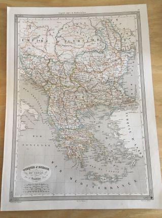 Carte géographique 19ème numérotée TURQUIE D EUROPE GRECE