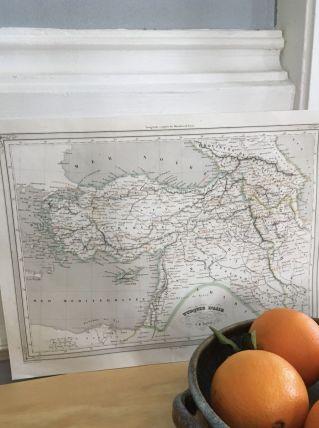 Carte géographique 19ème numérotée TURQUIE D'ASIE