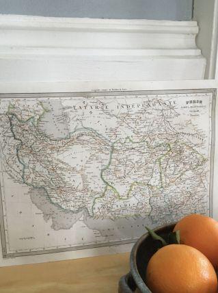 Carte géographique 19ème numérotée PERSE KABOUL PENDJAB