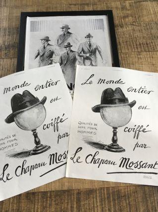 Lot 3 publicités années 30 Mode homme
