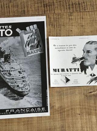 Lot 2 publicités années 30 Cigarettes