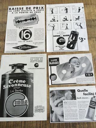 Lot 5 publicités années 30 soin homme rasage