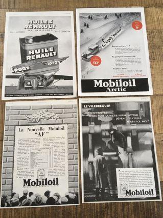 Lot 4 publicités années 30 MOBILOIL et RENAULT