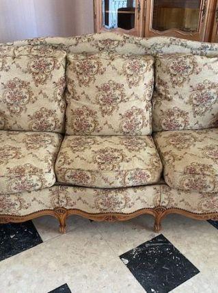 Canapé et fauteuil merisier massif