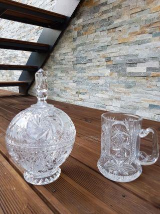 Sucrier et chope à bière en cristal