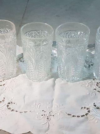 4 jolis verres travaillés