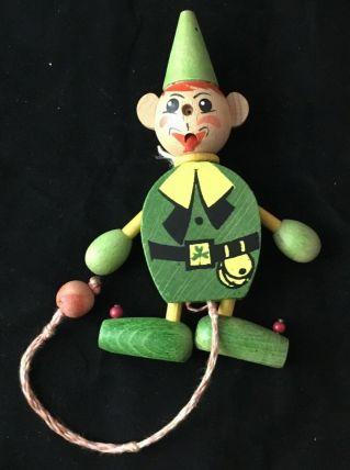 Jouet bois, Pantin vert articulé en bois peint, 15 cm