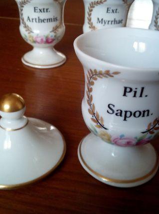 Lot anciens petits pots apothicaires, pots pharmacie
