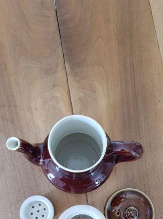 Cafetière vernissée marron avec filtres café et chicorée